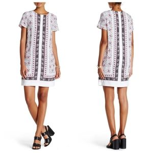 CeCe Kayte Rosado Printed White & Pink Shift Dress